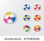 set of beach ball vector...   Shutterstock .eps vector #675982066