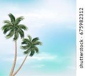 palm trees against blue sky....   Shutterstock .eps vector #675982312