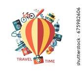 digital raster travel icons set ... | Shutterstock . vector #675982606