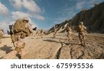 shot of a squad of soldiers... | Shutterstock . vector #675995536