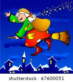 a funny old witch flies over... | Shutterstock .eps vector #67600051
