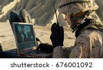 soldier is using laptop... | Shutterstock . vector #676001092