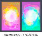poster with neon flat geometric ... | Shutterstock . vector #676007146
