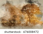 watercolour painting of... | Shutterstock . vector #676008472