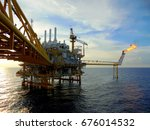 an offshore oil and gas... | Shutterstock . vector #676014532