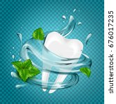 tooth water splash and mint ...   Shutterstock .eps vector #676017235