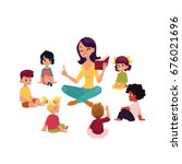 kindergarten kids sitting... | Shutterstock .eps vector #676021696