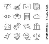 freelance jobs line icon set 1. ... | Shutterstock .eps vector #676025236