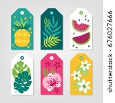 set of summer gift tags with... | Shutterstock .eps vector #676027666