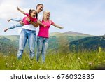 attractive family having fun in ... | Shutterstock . vector #676032835
