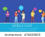 mobile chat flat concept vector ... | Shutterstock .eps vector #676033825