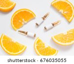 vitamin c brown ampule for... | Shutterstock . vector #676035055