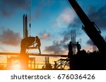 silhouette construction... | Shutterstock . vector #676036426