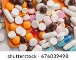 studio photo of pills | Shutterstock . vector #676039498