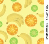 seamless pattern with fruits | Shutterstock .eps vector #676045102