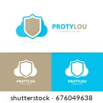 shield and cloud logo... | Shutterstock . vector #676049638