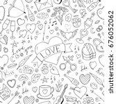seamless happy valentine day... | Shutterstock . vector #676052062