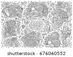 line art vector hand drawn... | Shutterstock .eps vector #676060552
