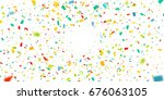 colorful confetti falling... | Shutterstock .eps vector #676063105