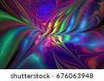 Abstract Rainbow Exotic Flower...