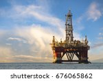 drilling platform during the... | Shutterstock . vector #676065862