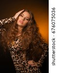 girl in leopard dress and black ... | Shutterstock . vector #676075036