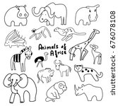 animals of africa on a white... | Shutterstock .eps vector #676078108