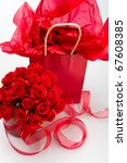 Stock photo saint valentine presents with decorations of roses and ribbon 67608385