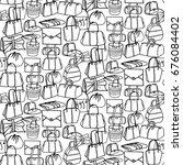 women's black and white doodle  ... | Shutterstock .eps vector #676084402