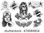 set of vintage black and white... | Shutterstock . vector #676084816