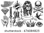 set of vintage black and white... | Shutterstock . vector #676084825