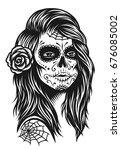 illustration of black and white ... | Shutterstock . vector #676085002