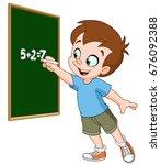 school boy writing with chalk... | Shutterstock .eps vector #676092388