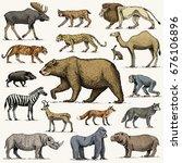 gorilla  moose or eurasian elk  ... | Shutterstock .eps vector #676106896