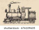 steam locomotive transport.... | Shutterstock .eps vector #676109635