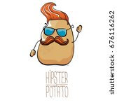 vector funny cartoon cute brown ... | Shutterstock .eps vector #676116262