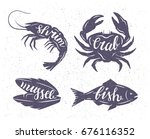 vector set grunge silhouettes... | Shutterstock .eps vector #676116352