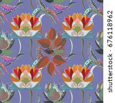 trendy seamless floral pattern... | Shutterstock .eps vector #676118962