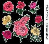 set of roses patches elements.... | Shutterstock .eps vector #676121962
