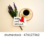 cup of coffee with happy long... | Shutterstock . vector #676127362