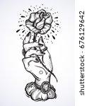 beautiful blackwork tattoo... | Shutterstock .eps vector #676129642