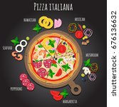 pizza slices on the board....   Shutterstock .eps vector #676136632
