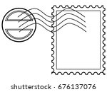 blank post stamp with rubber... | Shutterstock .eps vector #676137076