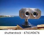 Small photo of Binoscope, Stationary binoculars with bill acceptor in the city of Antalya, Turkey
