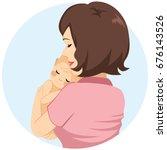 back view of mother tenderly... | Shutterstock .eps vector #676143526