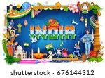 illustration of india... | Shutterstock .eps vector #676144312