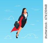 iisometric business woman flies ... | Shutterstock .eps vector #676150468