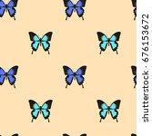 butterfly seamless background ...   Shutterstock .eps vector #676153672