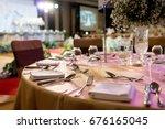luxury elegant table setting in ... | Shutterstock . vector #676165045