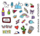 big set of fun hand drawn... | Shutterstock .eps vector #676165435